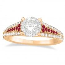 Ruby & Diamond 3 Row Bridal Set 14k Rose Gold (0.47ct)