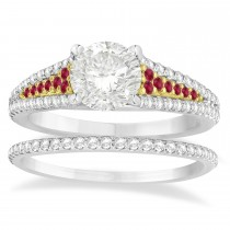 Ruby & Diamond 3 Row Bridal Set 14k Two Tone Gold (0.47ct)