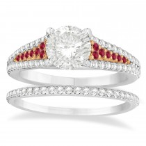 Ruby & Diamond 3 Row Bridal Set 18k Rose Gold (0.47ct)