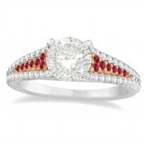 Ruby & Diamond 3 Row Bridal Set 18k Rose Gold (0.47ct)