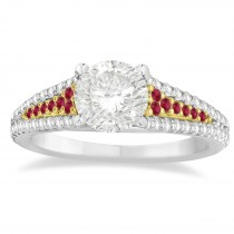 Ruby & Diamond 3 Row Bridal Set 18k Two Tone Gold (0.47ct)