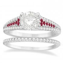 Ruby & Diamond 3 Row Bridal Set Palladium (0.47ct)