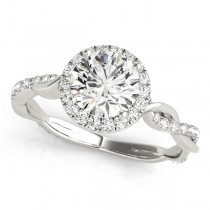 Diamond Twisted Halo Engagement Ring 14k White Gold (1.32ct)