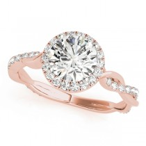Diamond Twisted Halo Engagement Ring 18k Rose Gold (1.32ct)