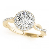 Diamond Twisted Halo Engagement Ring 18k Yellow Gold (1.32ct)