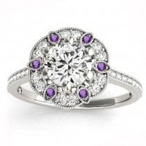 Amethyst & Diamond Accented Floral Halo Engagement Ring 14K White Gold (0.52ct)