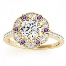 Amethyst & Diamond Floral Engagement Ring 18K Yellow Gold (0.23ct)