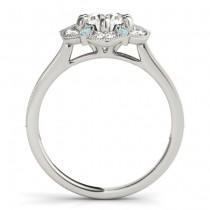 Aquamarine & Diamond Floral Engagement Ring 14K White Gold (0.23ct)