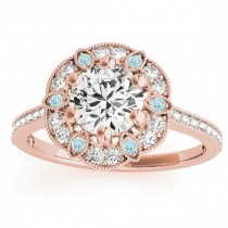 Aquamarine & Diamond Floral Engagement Ring 18K Rose Gold (0.23ct)