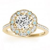 Aquamarine & Diamond Floral Engagement Ring 18K Yellow Gold (0.23ct)