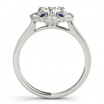Blue Sapphire & Diamond Floral Engagement Ring 14K White Gold (0.23ct)