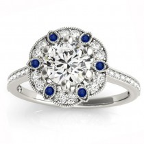 Blue Sapphire & Diamond Floral Engagement Ring 18K White Gold (0.23ct)