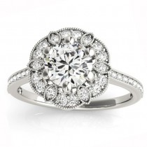 Diamond Accented Floral Halo Engagement Ring 18K White Gold (0.23ct)