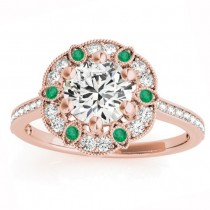 Emerald & Diamond Floral Engagement Ring 14K Rose Gold (0.23ct)