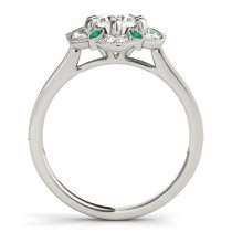 Emerald & Diamond Floral Engagement Ring 14K White Gold (0.23ct)|escape