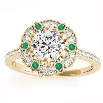 Emerald & Diamond Floral Engagement Ring 14K Yellow Gold (0.23ct)