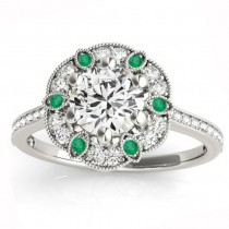 Emerald & Diamond Floral Engagement Ring 18K White Gold (0.23ct)