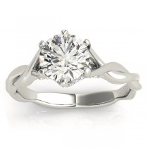 Diamond 6-Prong Twisted Engagement Ring Setting 18k White Gold (.11ct)