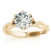Diamond 6-Prong Twisted Engagement Ring Setting 18k Yellow Gold (.11ct)