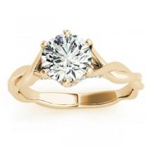 Diamond 6-Prong Twisted Engagement Ring Setting 18k Yellow Gold (.11ct)