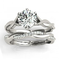 Diamond 6-Prong Twisted Bridal Set Setting 18k White Gold (0.19ct)