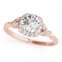 Diamond Antique Style Engagement Ring 18k Rose Gold (0.89ct)