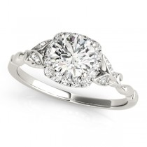 Diamond Antique Style Engagement Ring 18k White Gold (0.89ct)