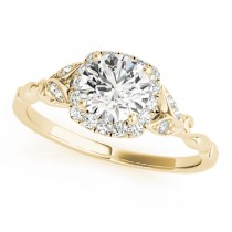 Diamond Antique Style Engagement Ring 18k Yellow Gold (0.89ct)