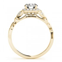 Butterfly Halo Diamond Engagement Ring 14k Yellow Gold (0.14ct)