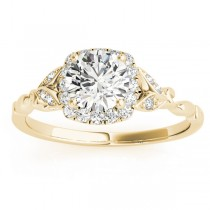 Butterfly Halo Diamond Engagement Ring 18k Yellow Gold (0.14ct)