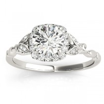 Butterfly Halo Diamond Engagement Ring Palladium (0.14ct)