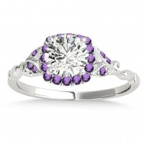 Amethyst Butterfly Halo Engagement Ring 14k White Gold (0.14ct)