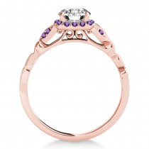 Amethyst Butterfly Halo Engagement Ring 18k Rose Gold (0.14ct)
