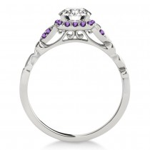Amethyst Butterfly Halo Engagement Ring 18k White Gold (0.14ct)