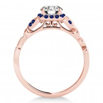 Blue Sapphire Butterfly Halo Engagement Ring 14k Rose Gold (0.14ct)