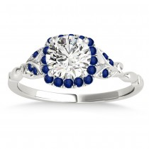 Blue Sapphire Butterfly Halo Engagement Ring 14k White Gold (0.14ct)