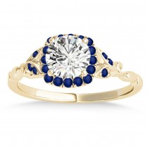 Blue Sapphire Butterfly Halo Engagement Ring 14k Yellow Gold (0.14ct)