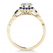 Blue Sapphire Butterfly Halo Engagement Ring 18k Yellow Gold (0.14ct)