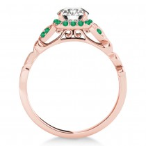Emerald Butterfly Halo Engagement Ring 14k Rose Gold (0.14ct)