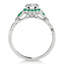 Emerald Butterfly Halo Engagement Ring 14k White Gold (0.14ct)