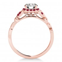 Ruby Butterfly Halo Engagement Ring 14k Rose Gold (0.14ct)