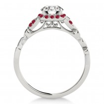 Ruby Butterfly Halo Engagement Ring 14k White Gold (0.14ct)