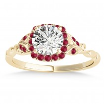 Ruby Butterfly Halo Engagement Ring 14k Yellow Gold (0.14ct)