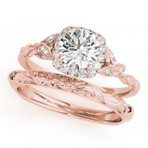 Diamond Antique Style Bridal Set 14k Rose Gold (0.89ct)