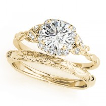 Diamond Antique Style Bridal Set 14k Yellow Gold (0.89ct)
