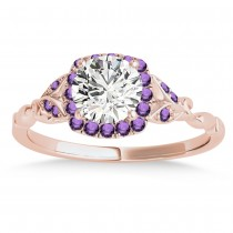 Amethyst Butterfly Halo Bridal Set 18k Rose Gold (0.14ct)