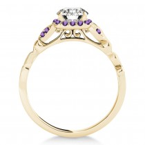 Amethyst Butterfly Halo Bridal Set 18k Yellow Gold (0.14ct)