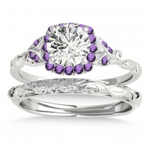 Amethyst Butterfly Halo Bridal Set Platinum (0.14ct)