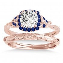 Blue Sapphire Butterfly Halo Bridal Set 14k Rose Gold (0.14ct)
