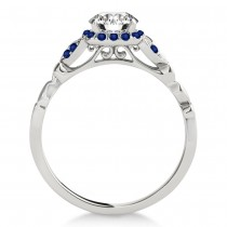 Blue Sapphire Butterfly Halo Bridal Set 14k White Gold (0.14ct)